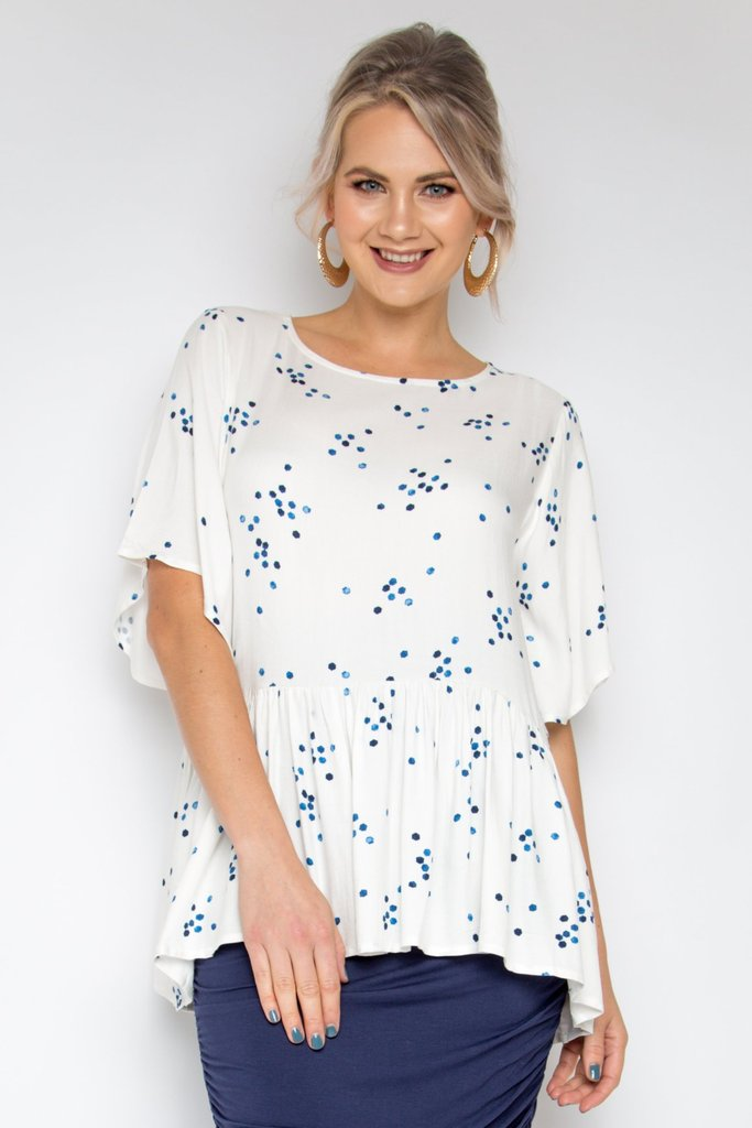 RO Milan Top In Blue Speckle