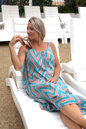 Sweet Summer Maxi Peach Zig Zag