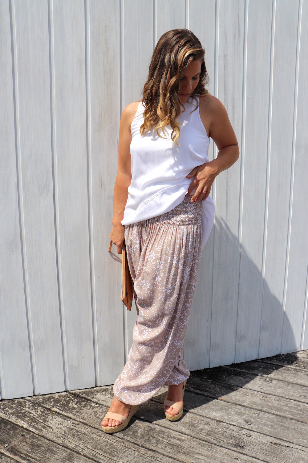 Harem Elastic Long Pant In Madagascar Taupe
