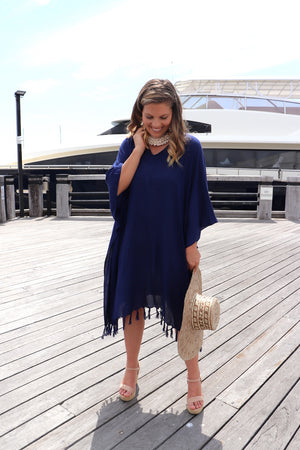 Short Tunic With Tassels In Navy