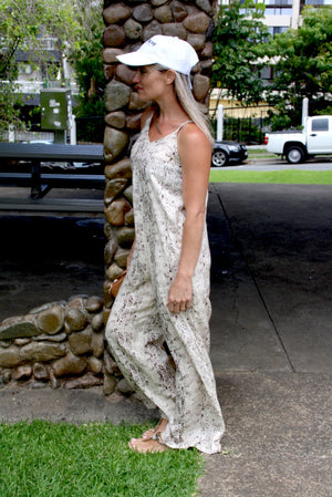 Sunday Chill Long Jumpsuit In Taupe