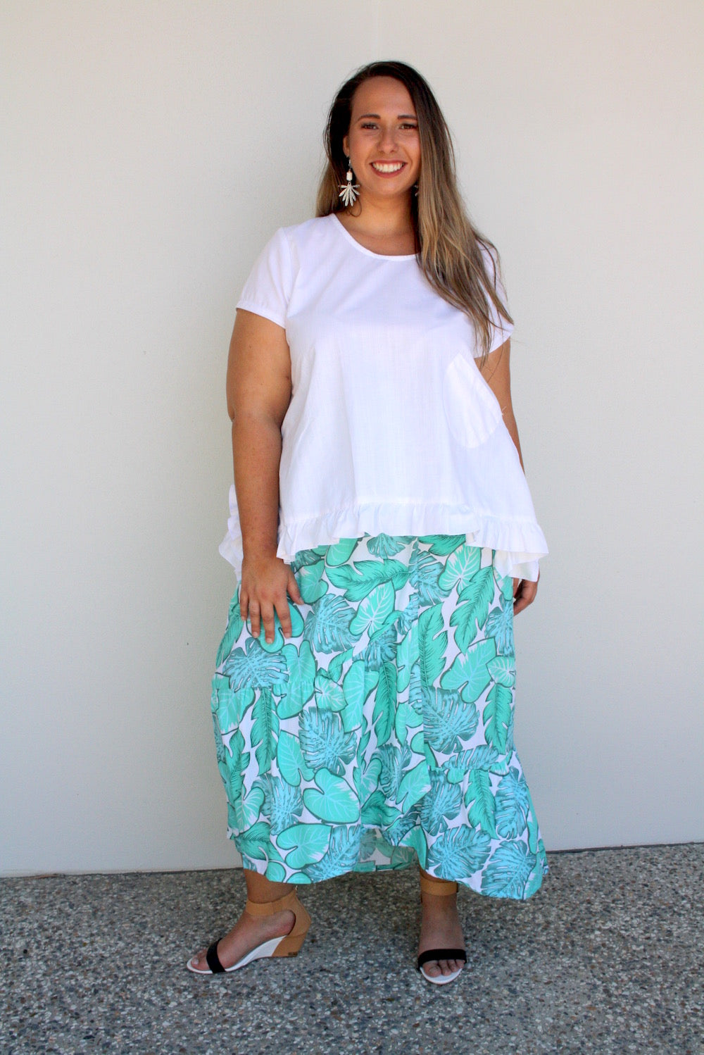 RO Maxi Frill Skirt In Tropicana