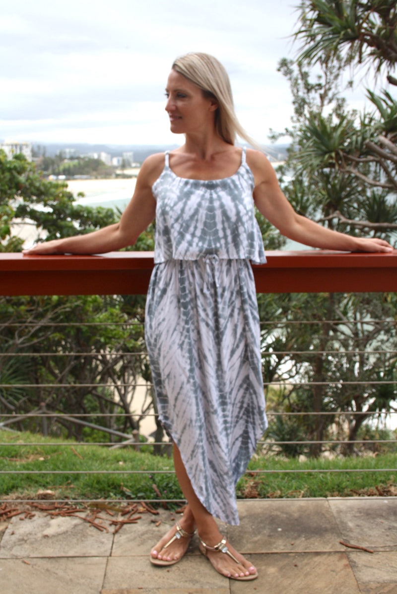 Byron Maxi Dress In Grey Splash