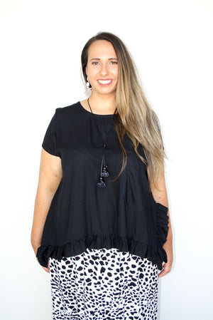 RO Amalfi Short Sleeve Top In Black (6-14) One Left