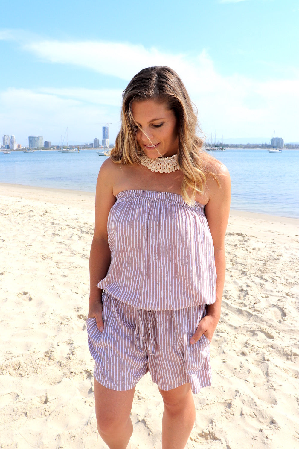 Maldives Short Jumpsuit In Taupe Stripe