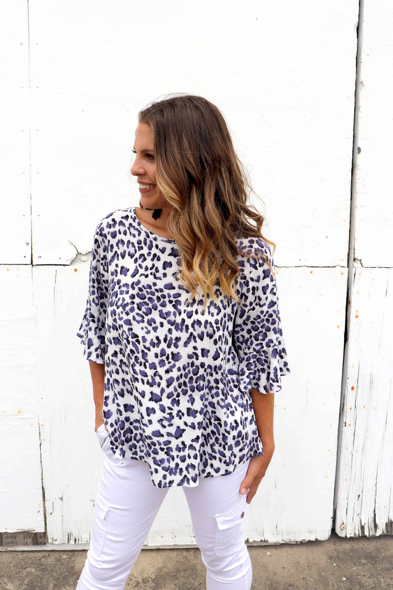 RO Purple Leopard Top