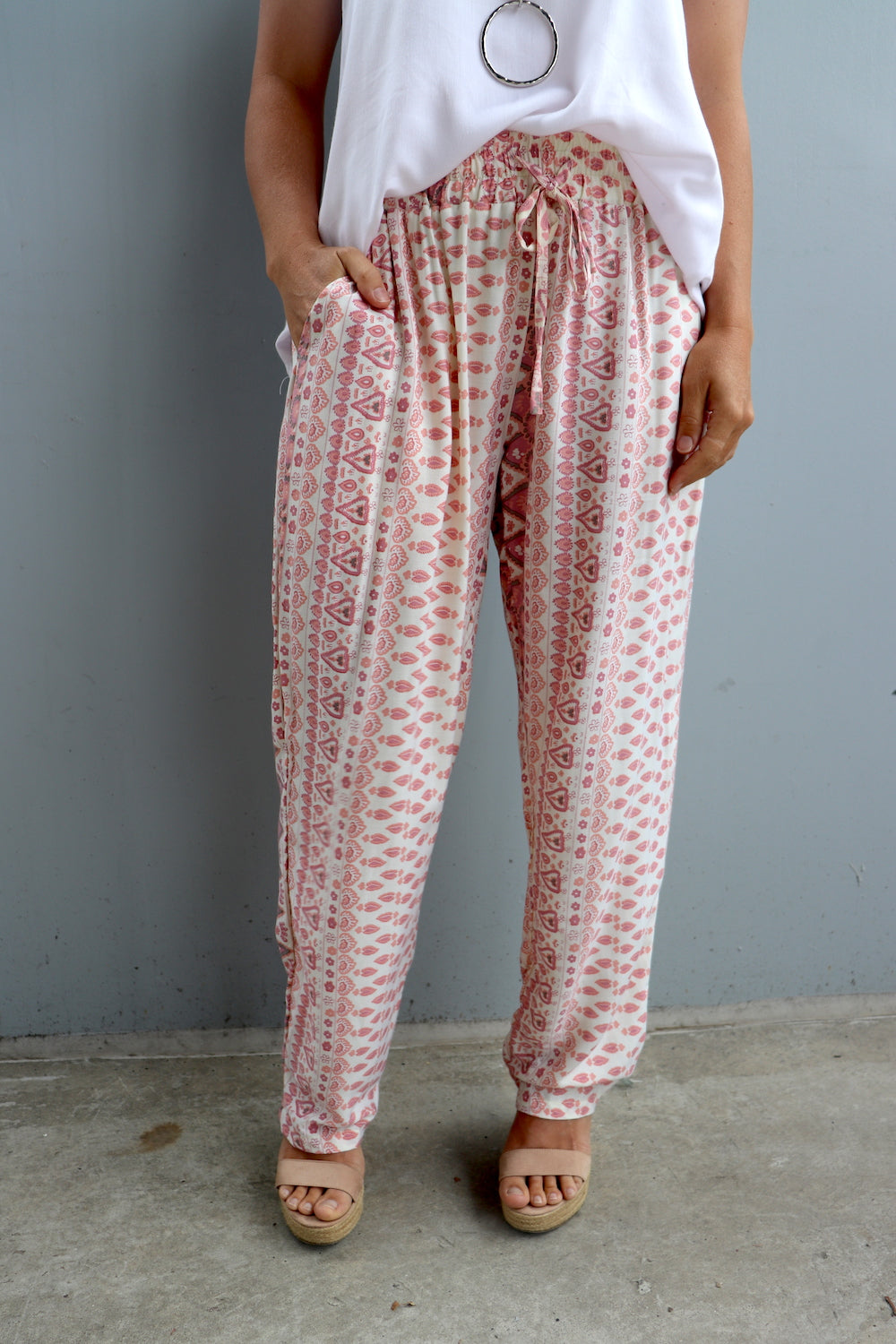 Perfect Travel Pants In Pink Aztec