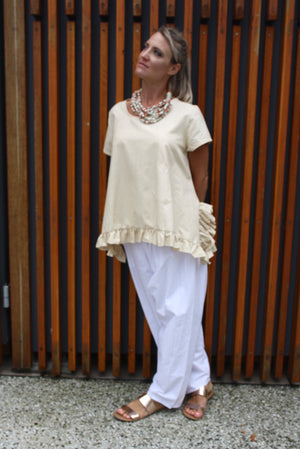 RO Dream Pant In White Linen Look