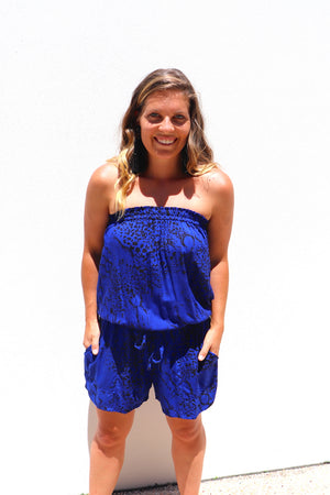 Maldives Short Jumpsuit In Electric Blue Animal