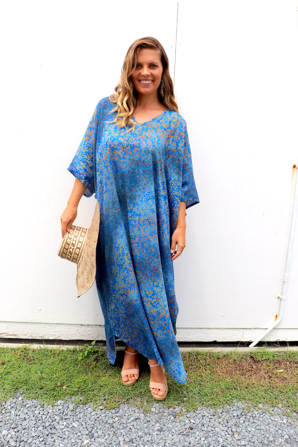 Long Kaftan In Ocean Blue