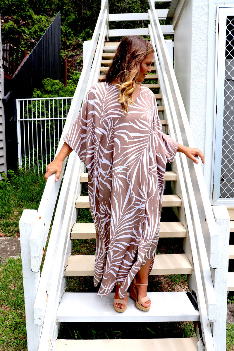 Long Kaftan In Taupe Vine