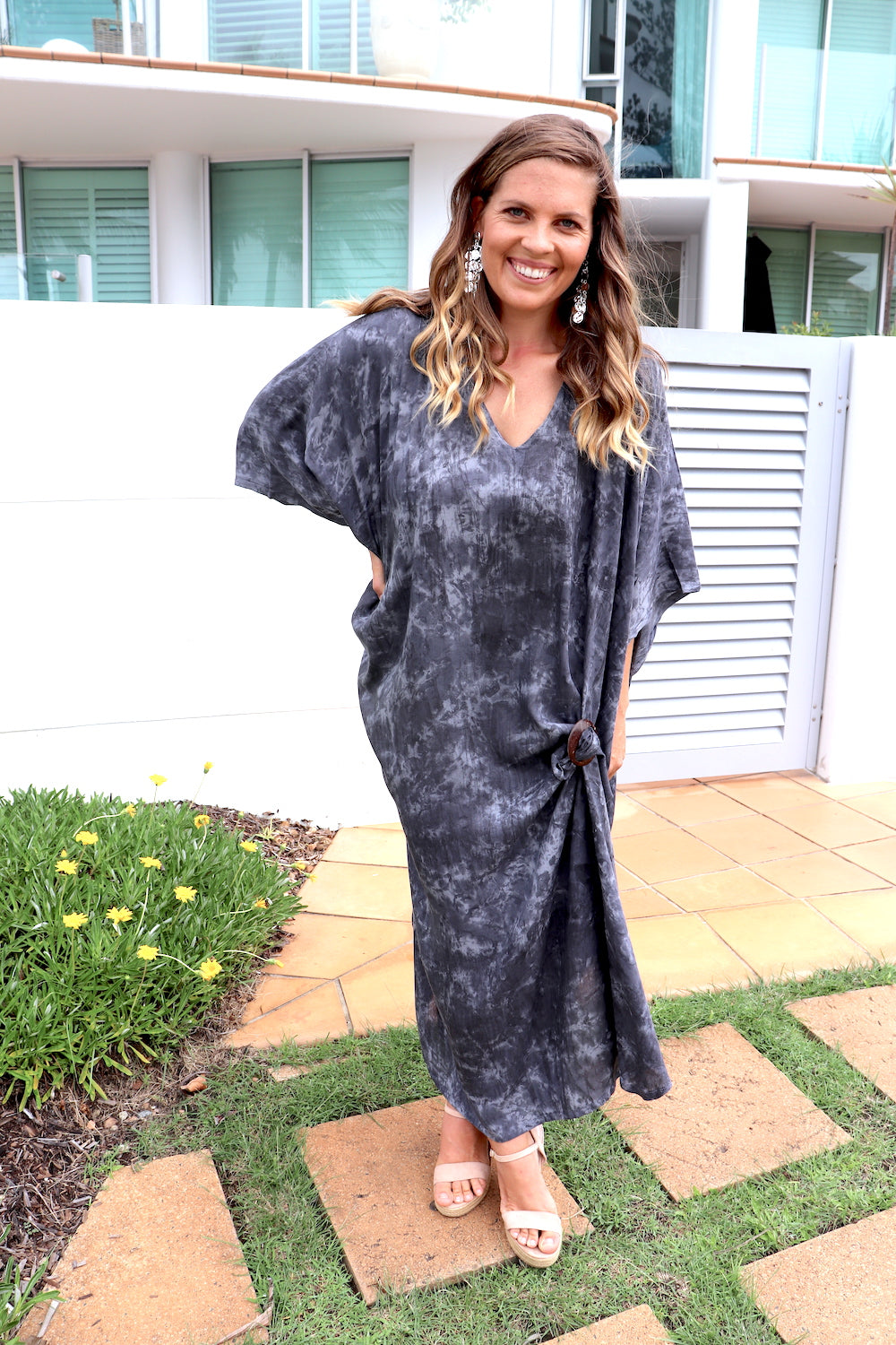 Long Kaftan In Charcoal Marble