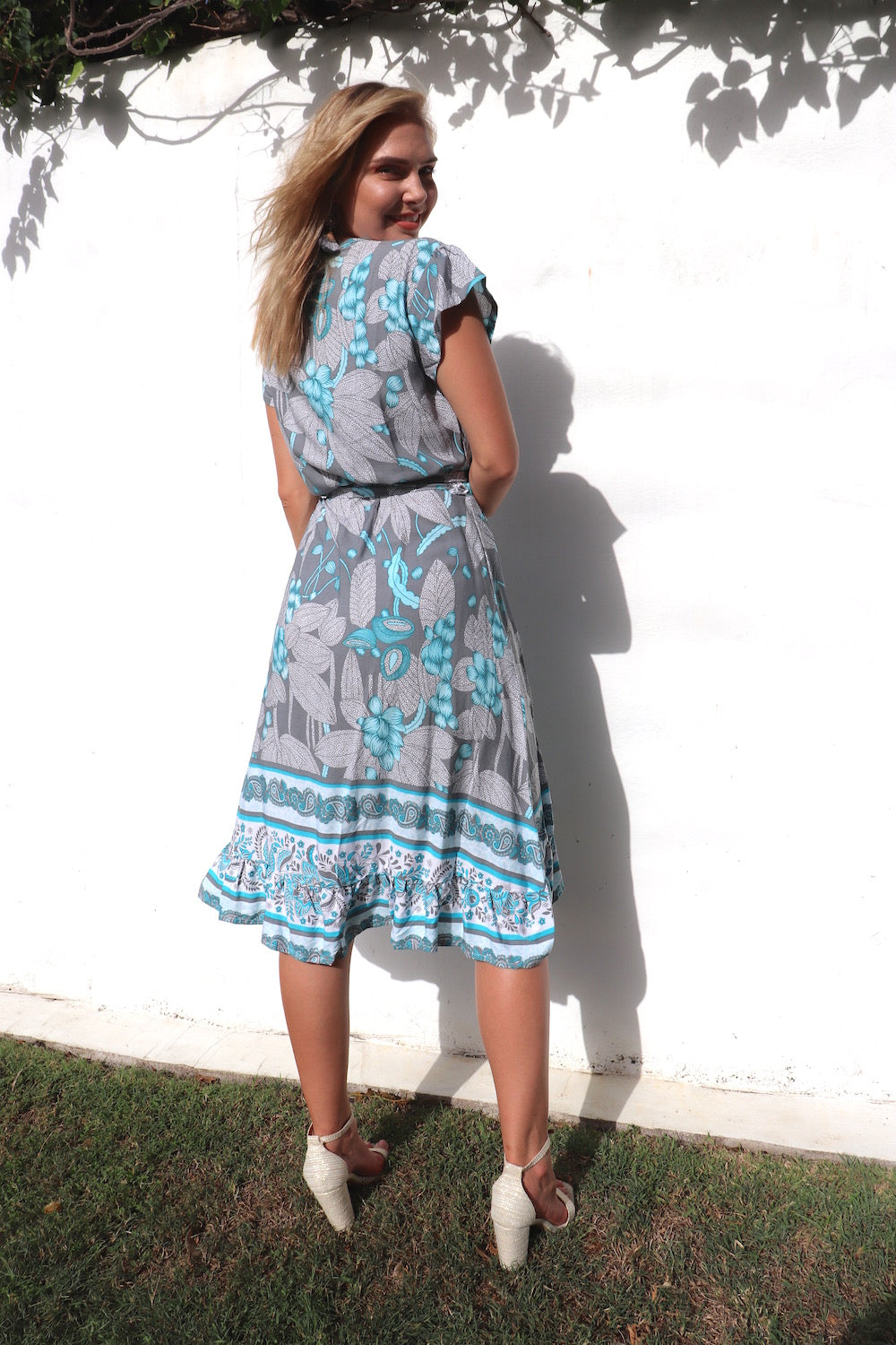 RO Short Bahama Wrap Dress In Ocean Vine Only 1 Free Size Left