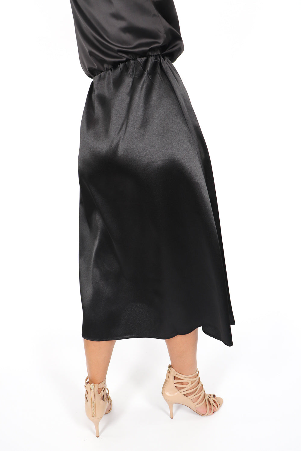 Nightlife Satin Skirt In Black