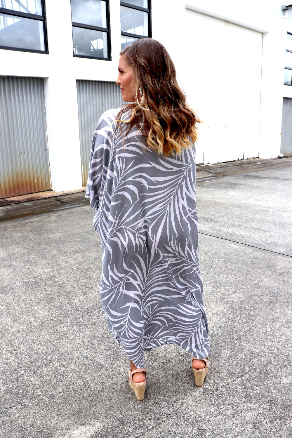 Long Kaftan In Grey Vine
