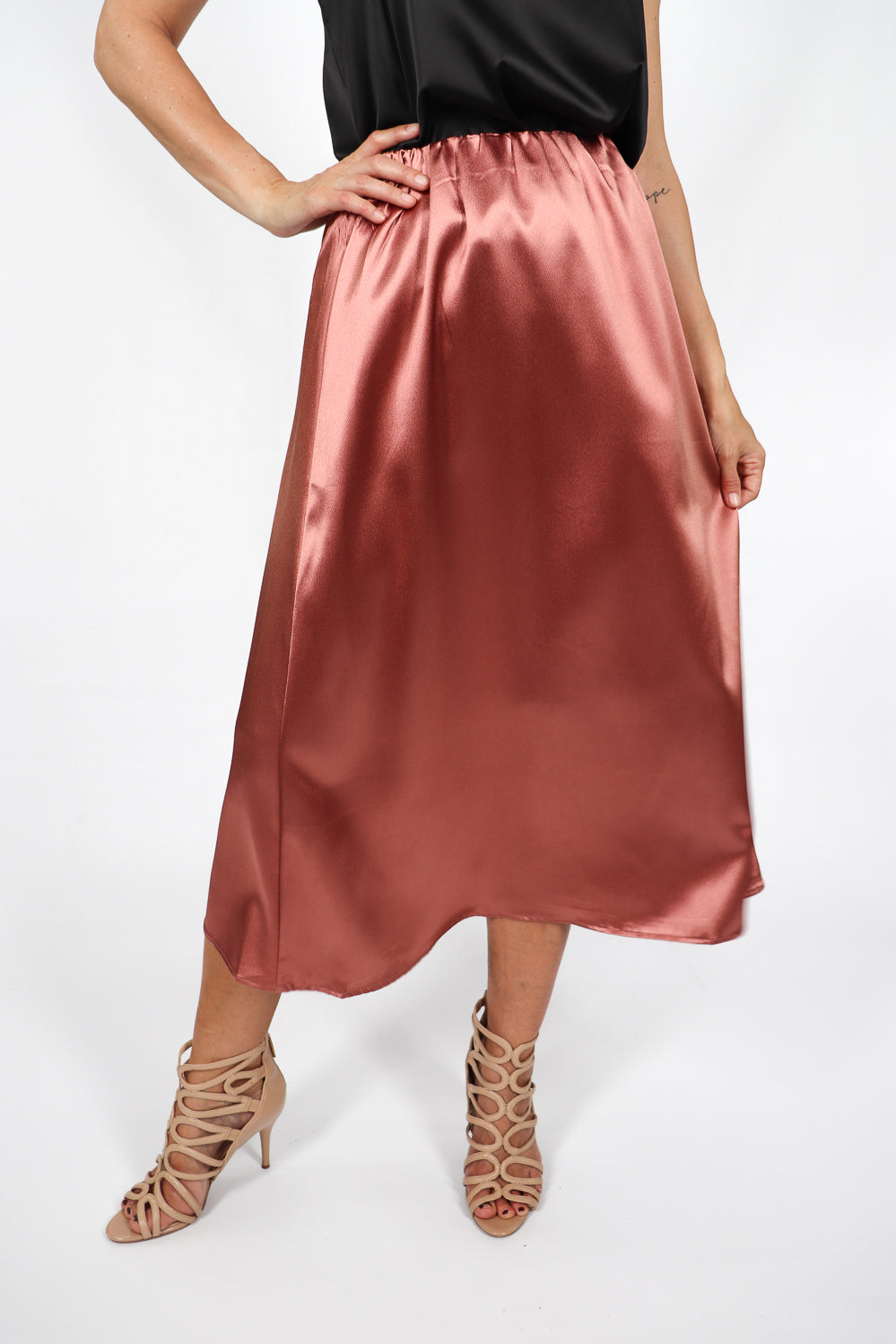 RO Nightlife Satin Skirt In Bronze