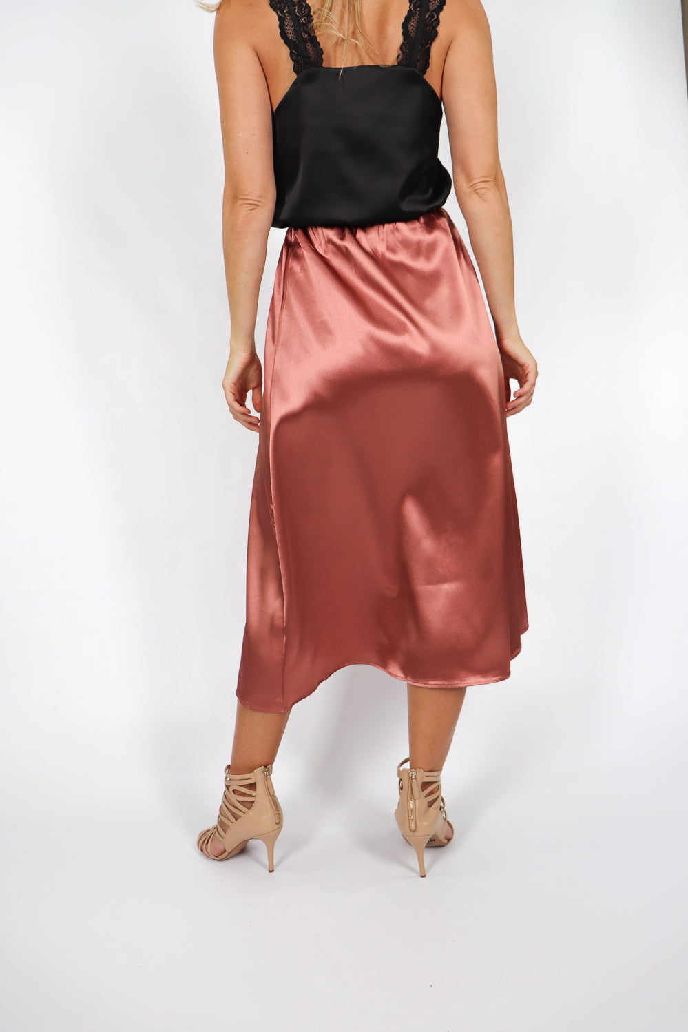 Nightlife Satin Skirt In Bronze