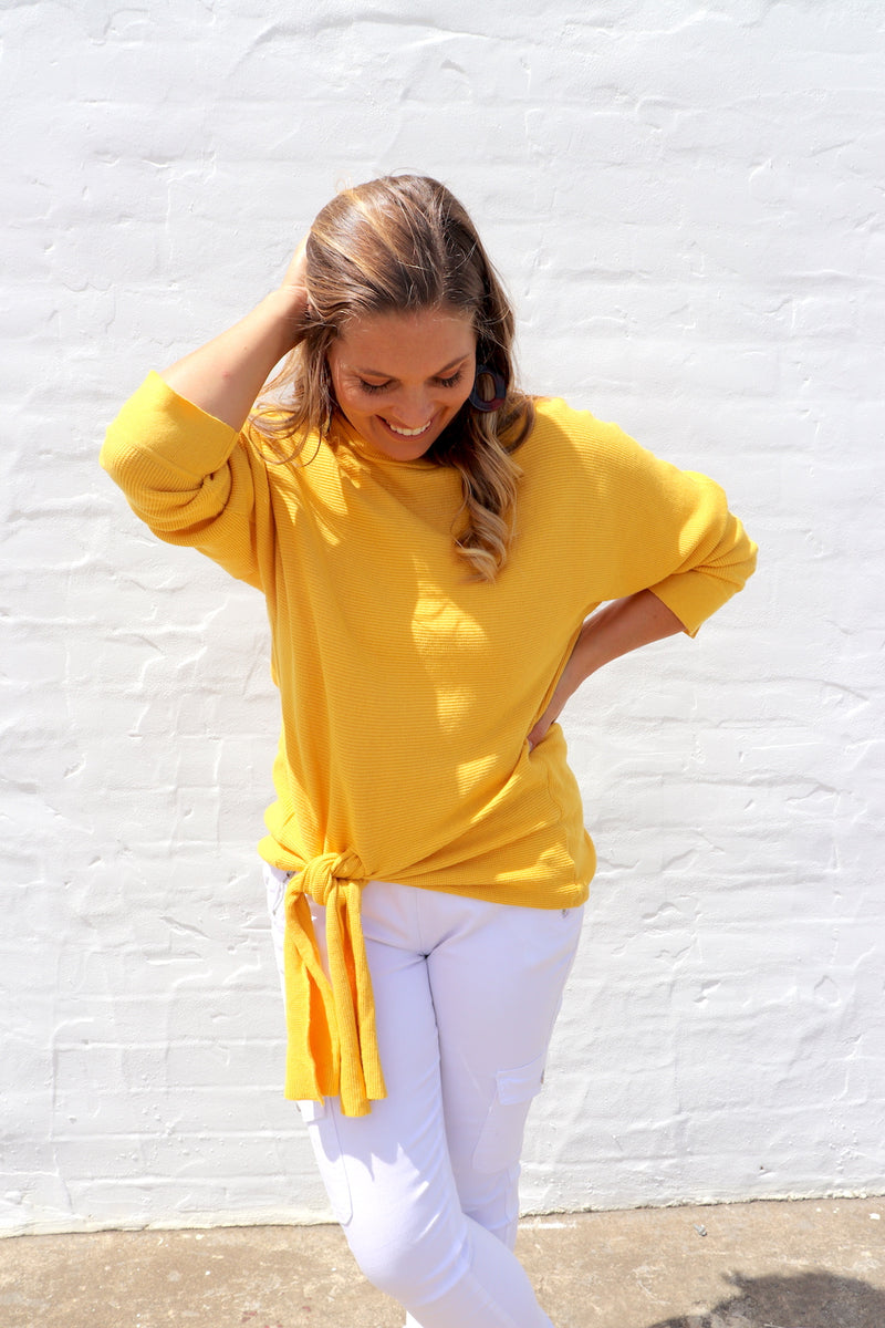 100% Cotton Jumper with a Tie in Mustard Yellow