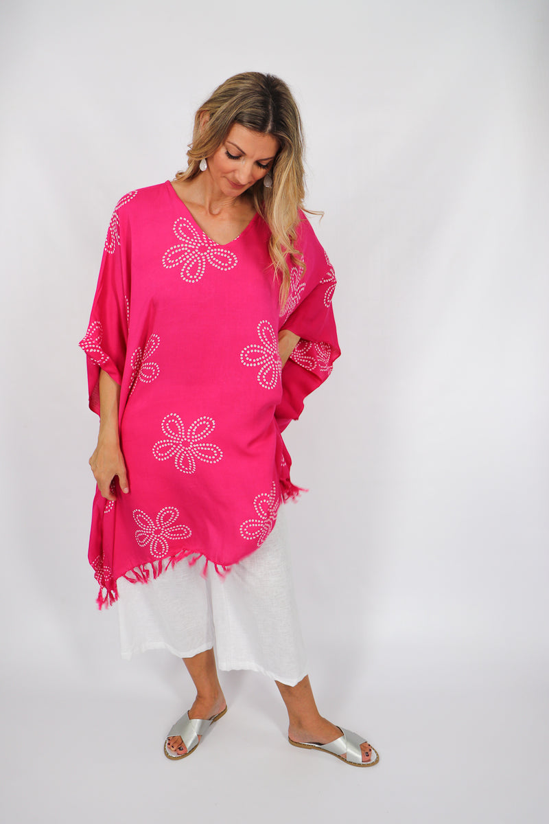 Pink Frangipani Cover Up