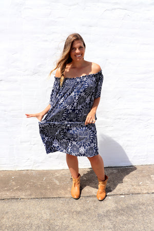 Holiday Dreaming Short Beach Dress/Top In Star Navy