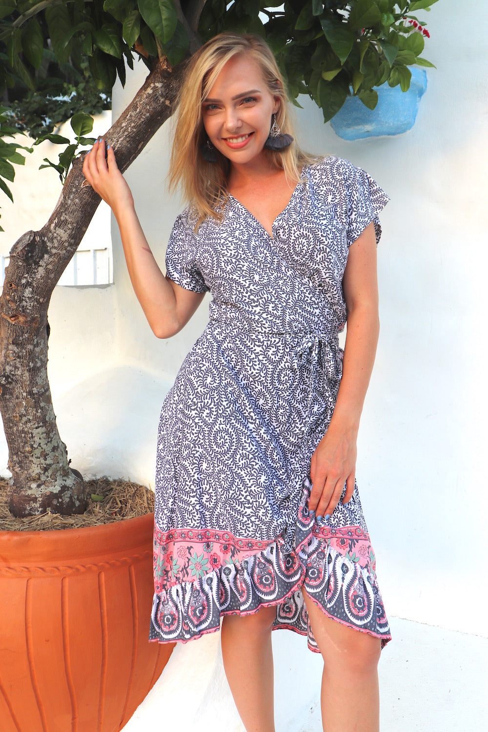 RO Short Bahama Wrap Dress In Grey Fern Only 1 Free Size Left