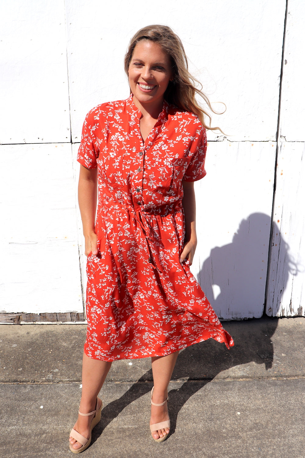 Red Earth Short Sleeve 3/4 Dress