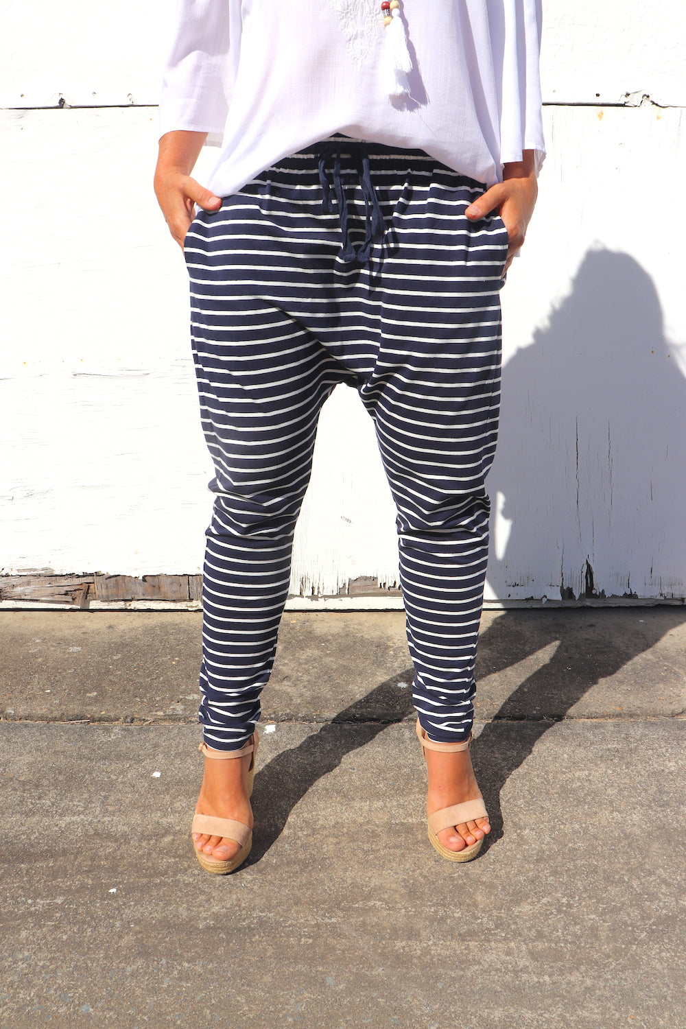 Jersey Droppy Pants In Navy & White Stripe