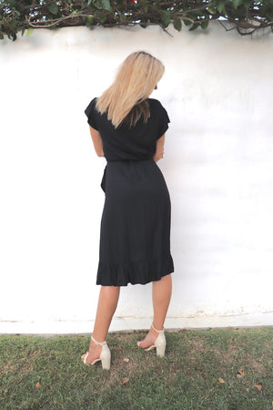 RO Short Bahama Wrap Dress In Black