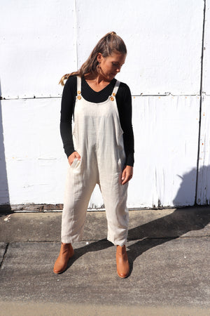 Cotton/Linen Long Button up Jumpsuit
