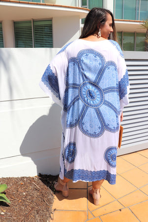 Bling Kaftan In White & Bright Blue