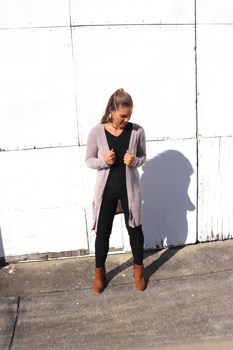 Light Weight 3/4 Cardi in Dusty Pink