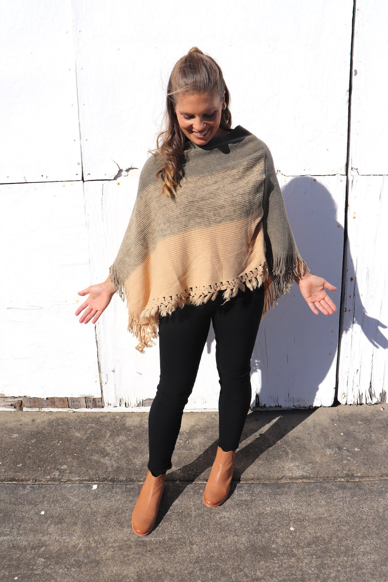 Mini Three Tone Poncho