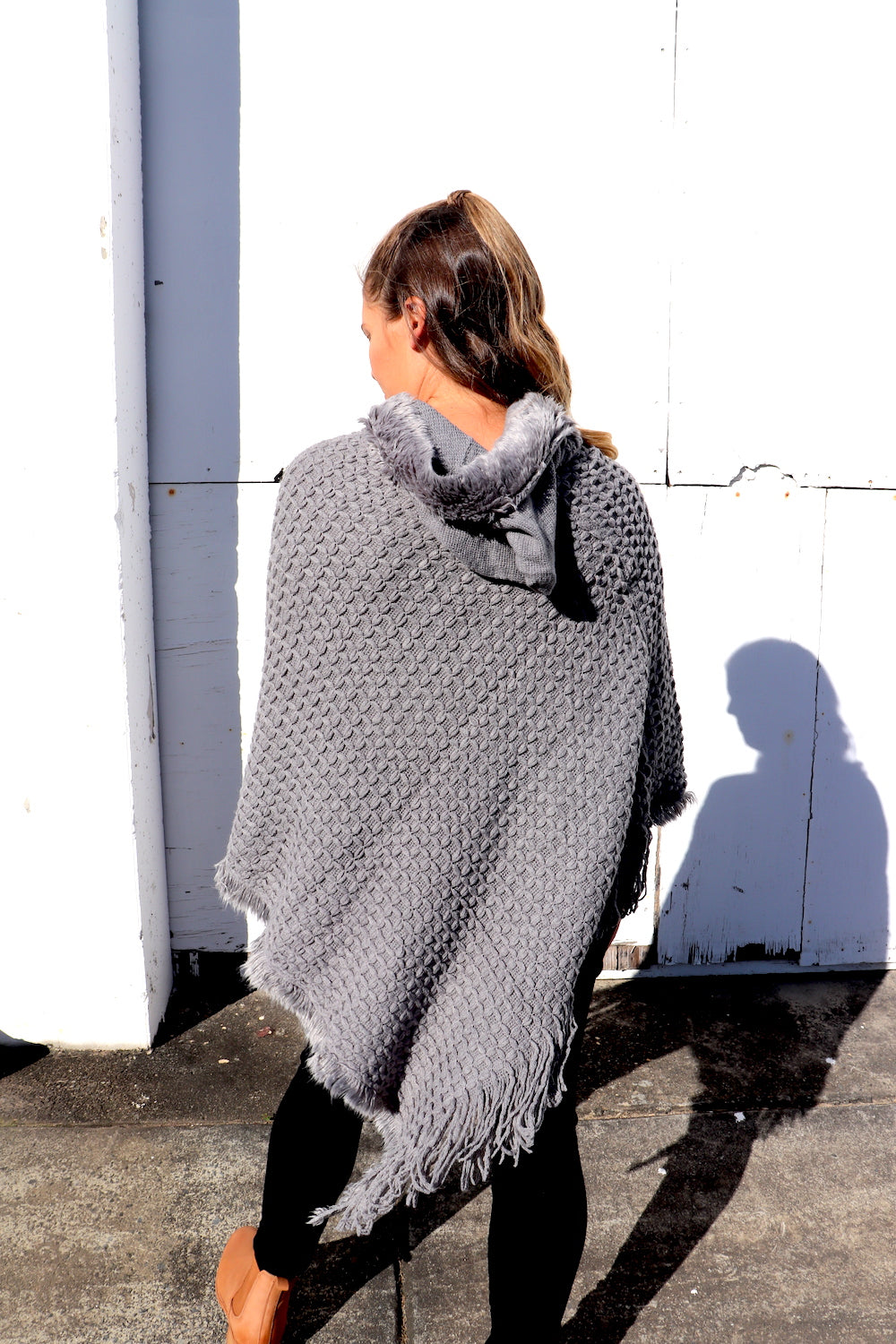 Hooded Poncho in Grey