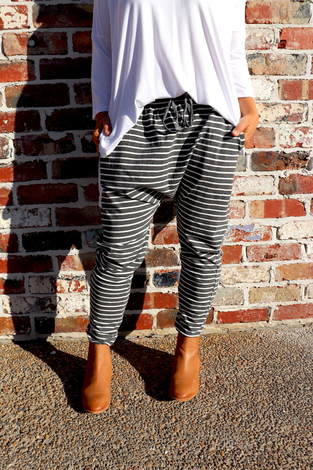 Jersey Droppy Pants in Grey & White Stripe