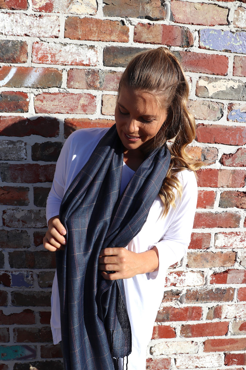 100% Pashmina Scarf in Blue