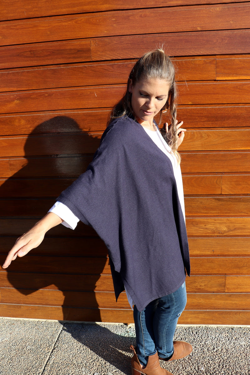 Navy Winter Cape 80% Cotton