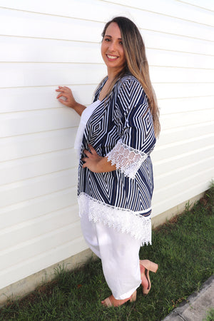 Lilly Lace Cape In Navy