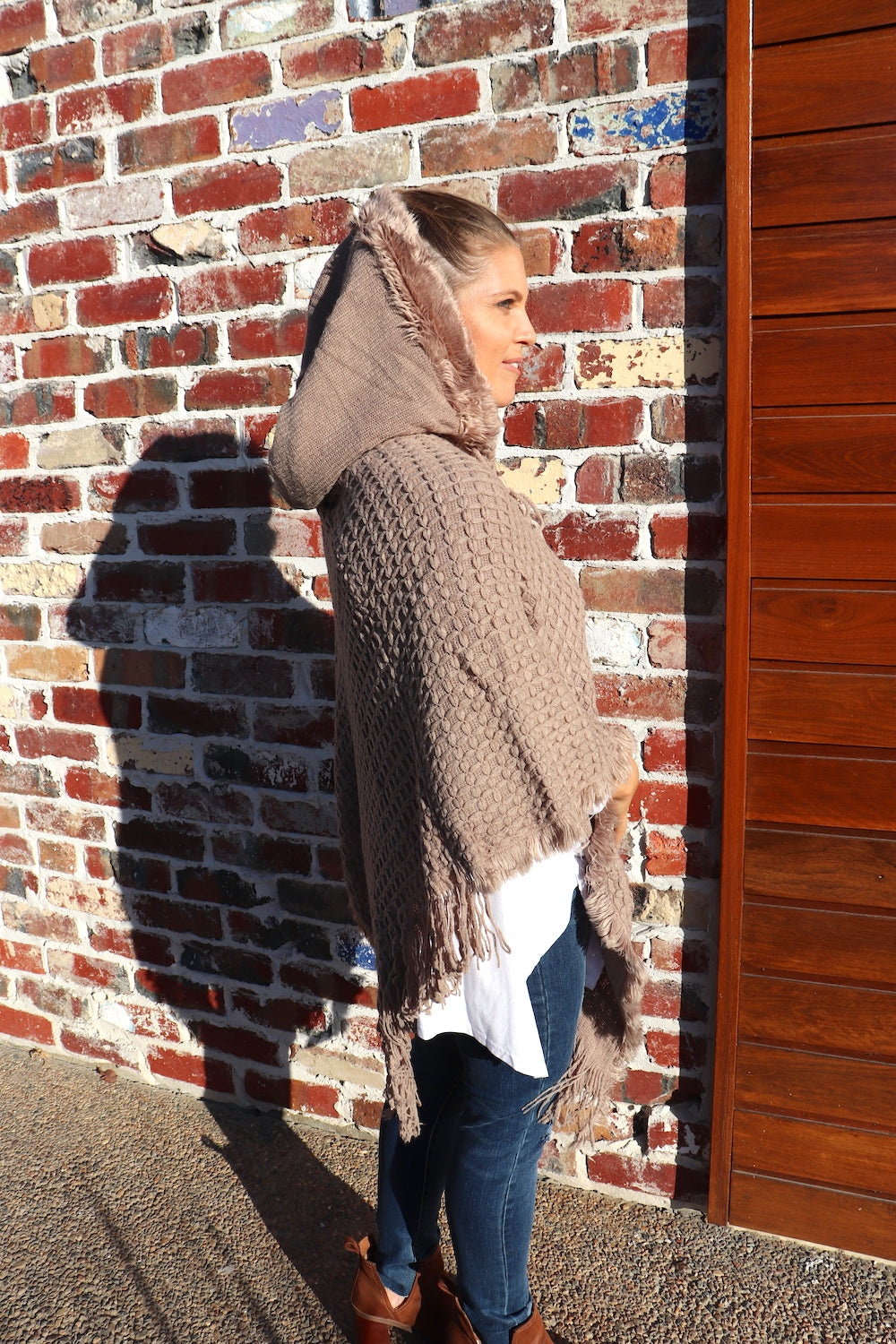 Hooded Poncho in Biscuit