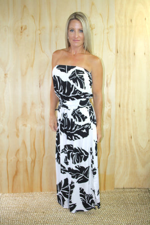 Daytripper Tube Maxi Dress In Black Leaf