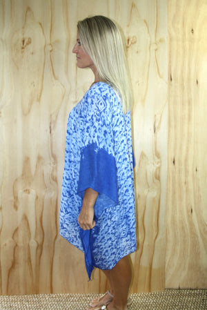 Short Tunic In Bright Blue Boarder