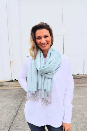 100% Pashmina Scarf In Ice Blue