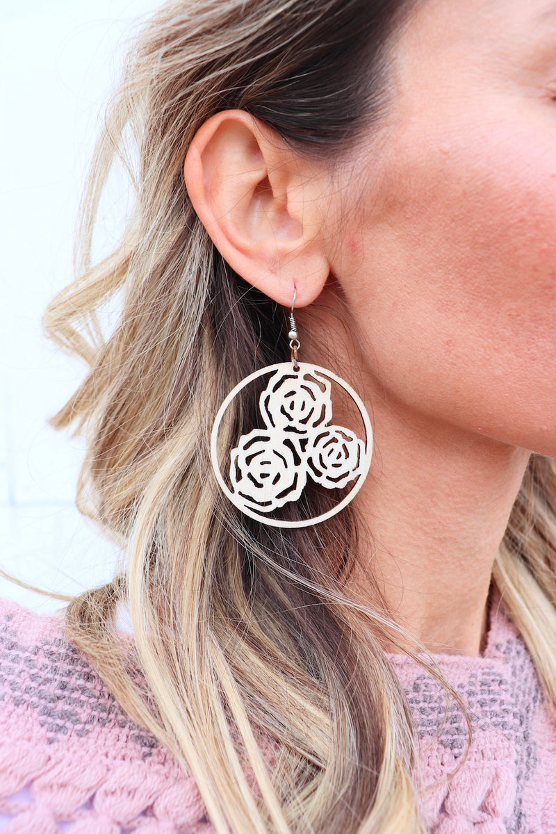 Light as a Feather Wood Earrings in Flowers