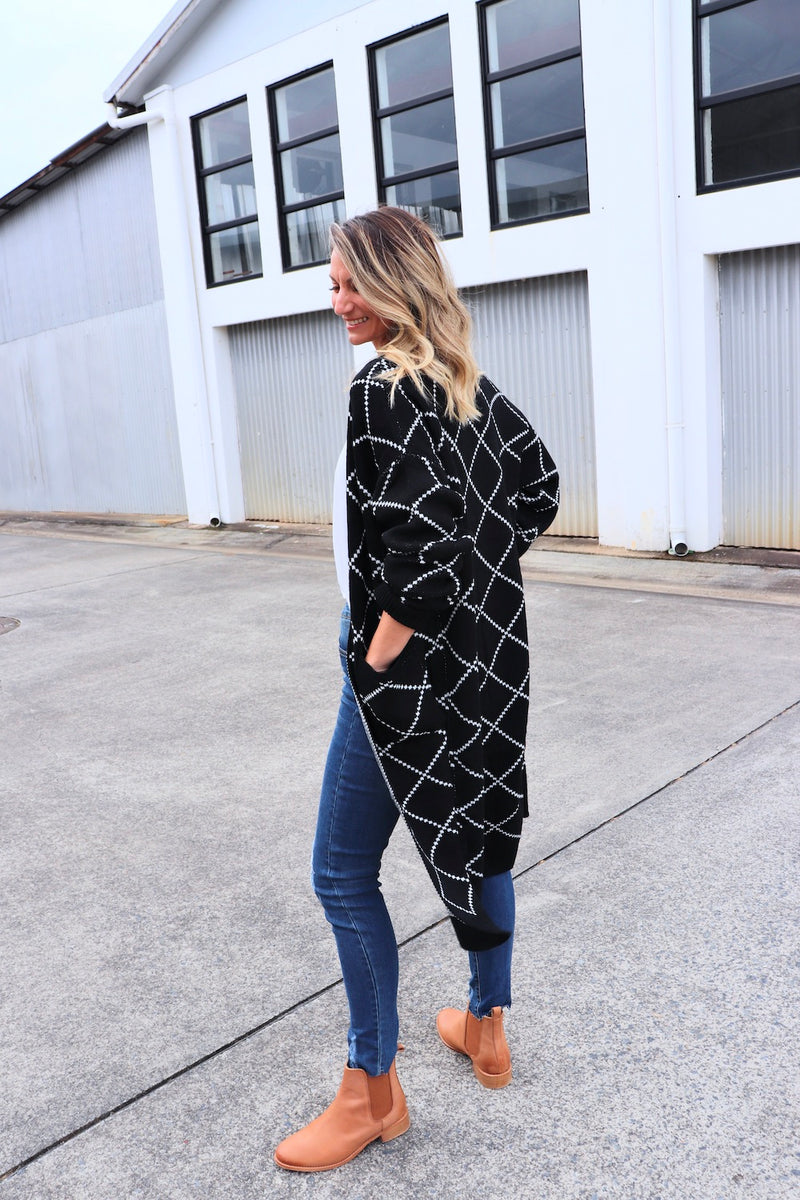 Black & White Long Cardi