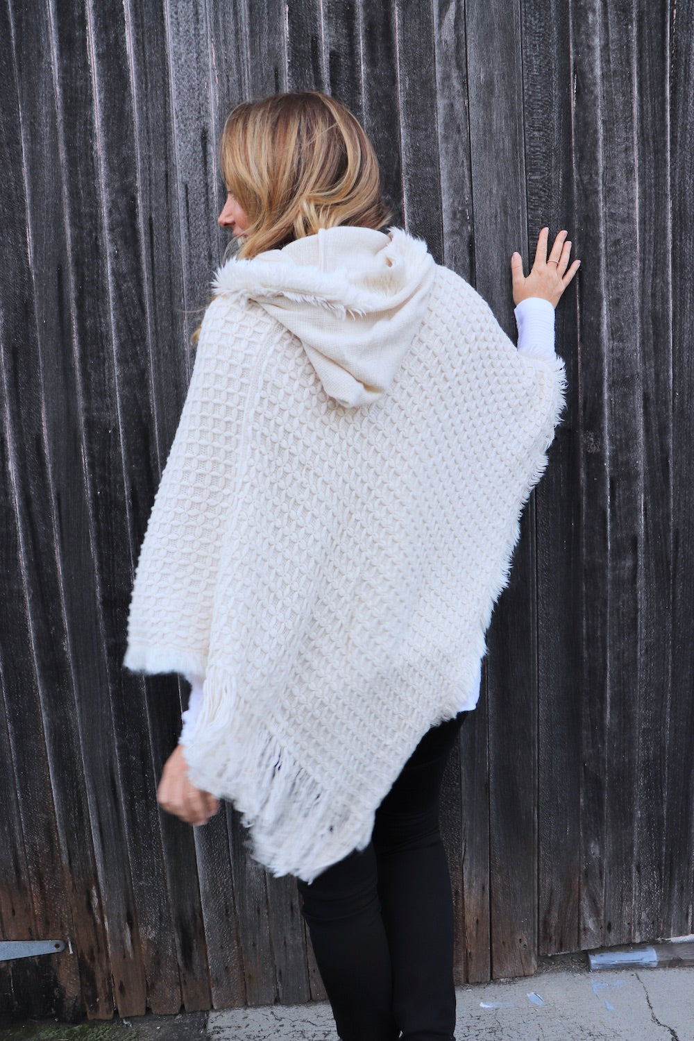 Hooded Poncho in Waffle