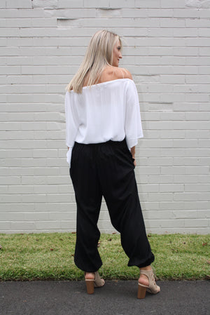 Harem Elastic Long Pant In Plain Black, White Or Taupe