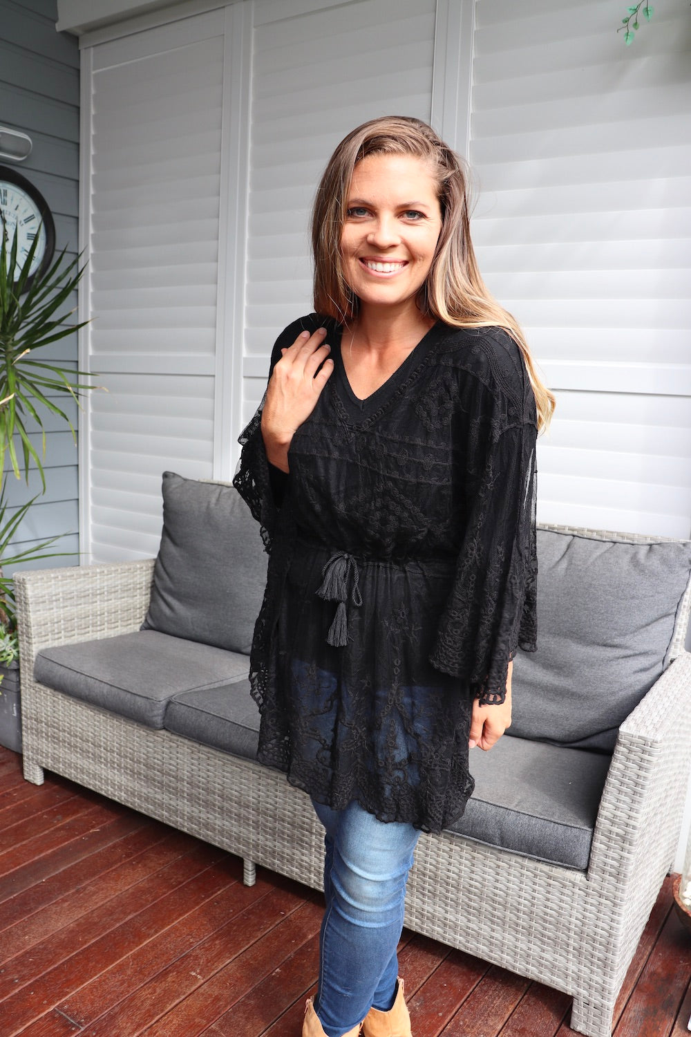 Angelica Lace Tunic Top in Black