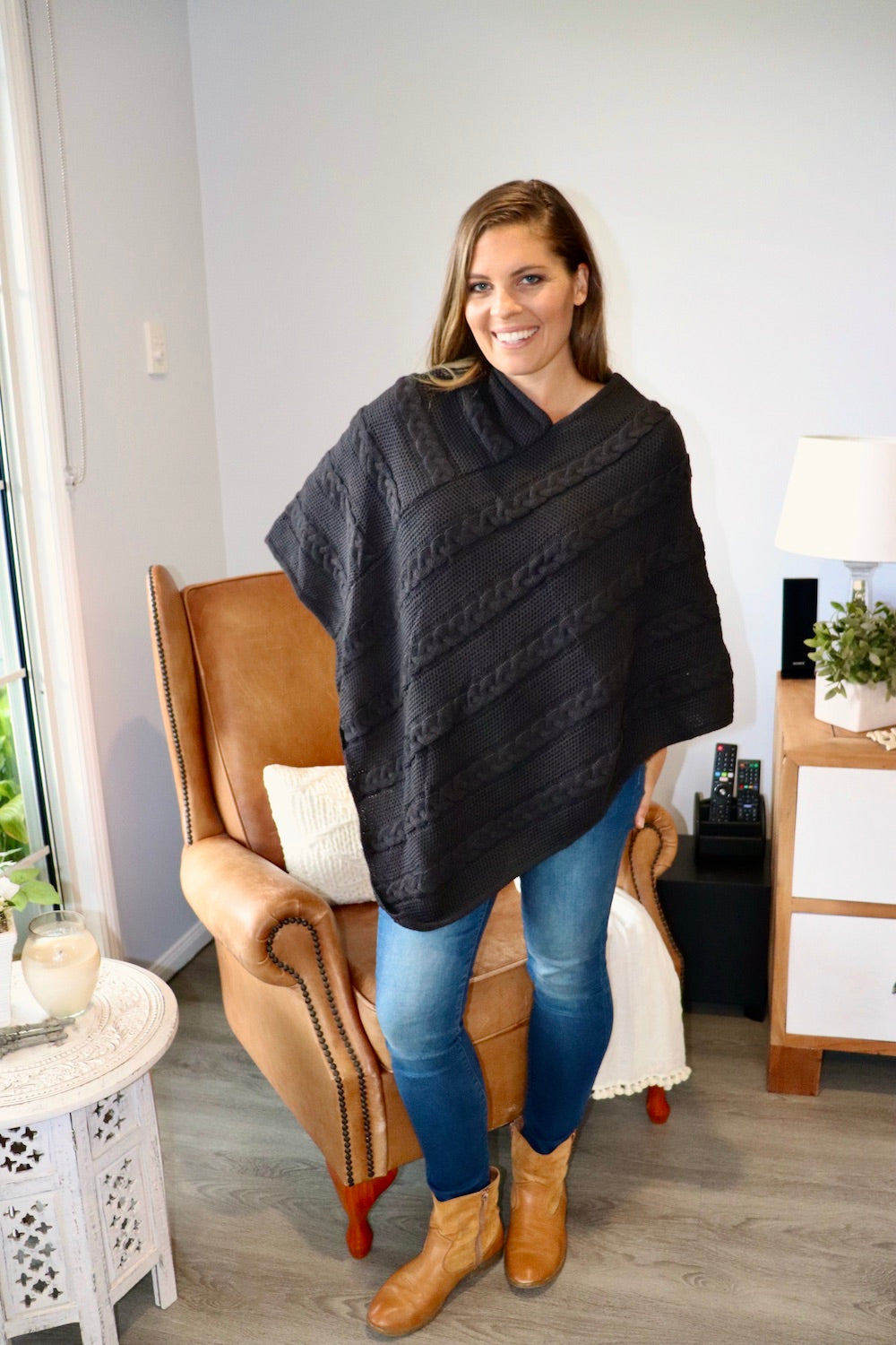 Classic Knit Poncho in Black