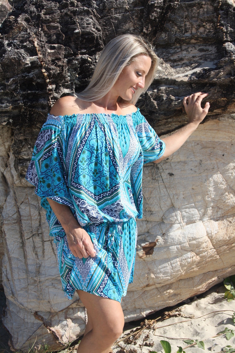 Holiday Dreaming Short Beach Dress/Top Blue Aztec