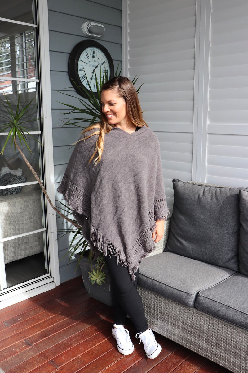 Snow Storm Grey Knit Poncho