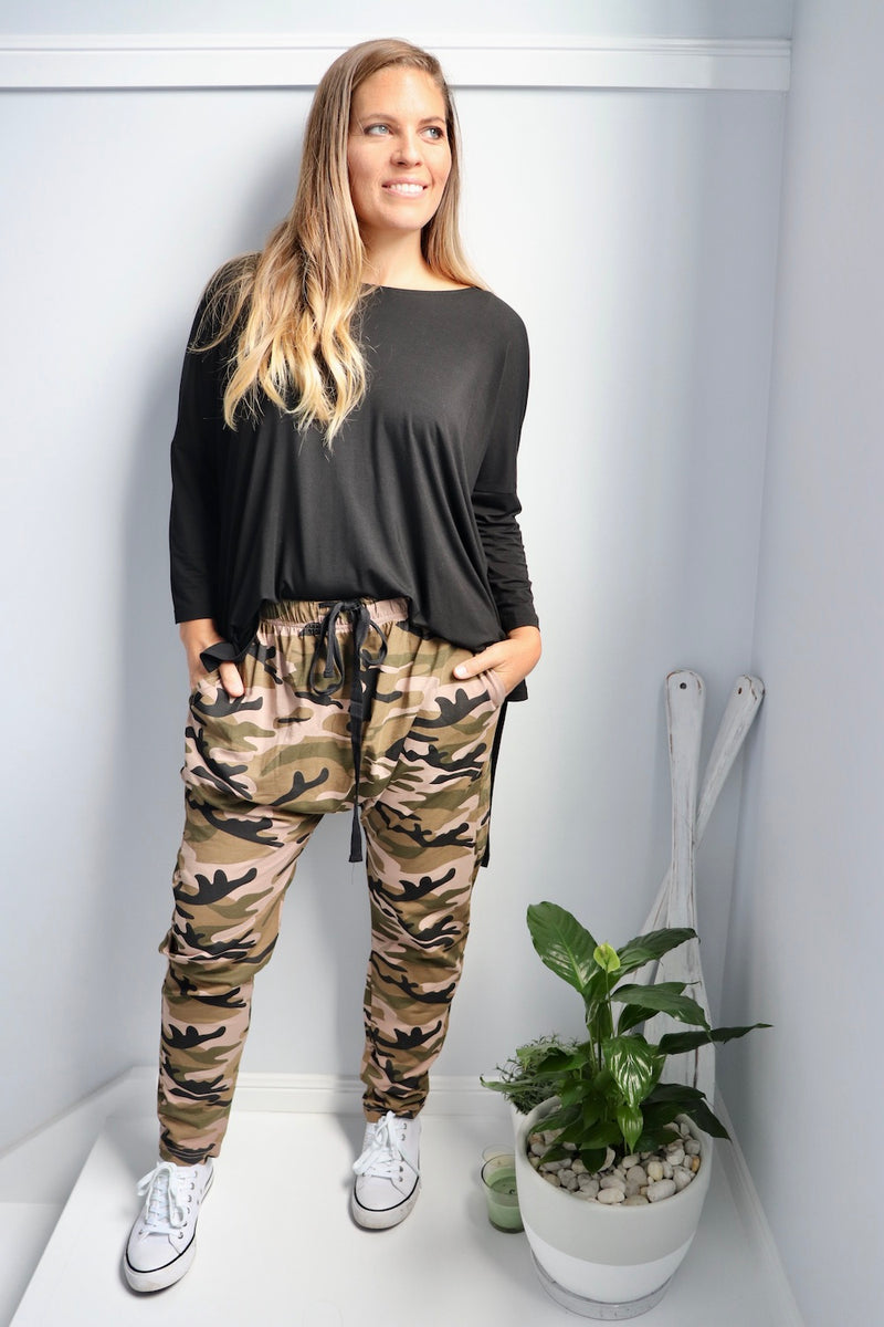 Jersey Droppy Pants in Army Girl